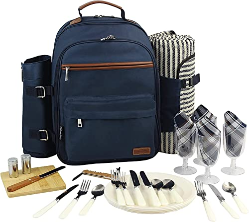 Picnic Backpack for 4 Picnic Basket Stylish All-in-One Portable Picnic Bag with Complete Cutlery Set, Stainless Steel S P Shakers Picnic Blanket Waterproof Extra Large Cooler Bag for Camping