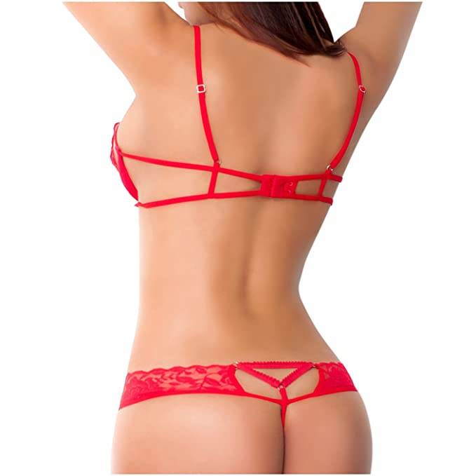 Amawi 0606 Women Sexy Lace Latuta Bra | Ropa Interior Femenina Colombiana Red M at Amazon Womens Clothing store: