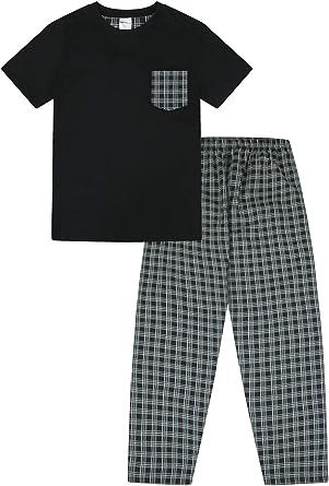 Pijama largo para hombre, diseño a cuadros, color negro