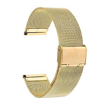 TRUMiRR banda de 18 mm Reloj de pulsera de malla de acero inoxidable de metal para