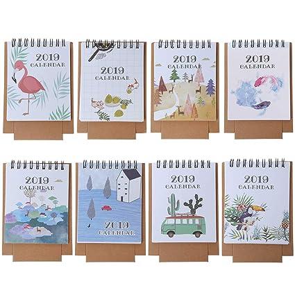 Yangfr - Calendario de escritorio, dibujo a mano, 2019 ...