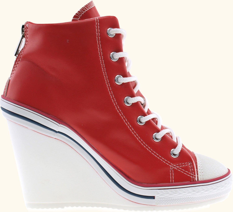 Maxstar Women's 777 Back Zipper PU High Wedge Heel Sneakers B00CMYYOUY 6 B(M) US Red