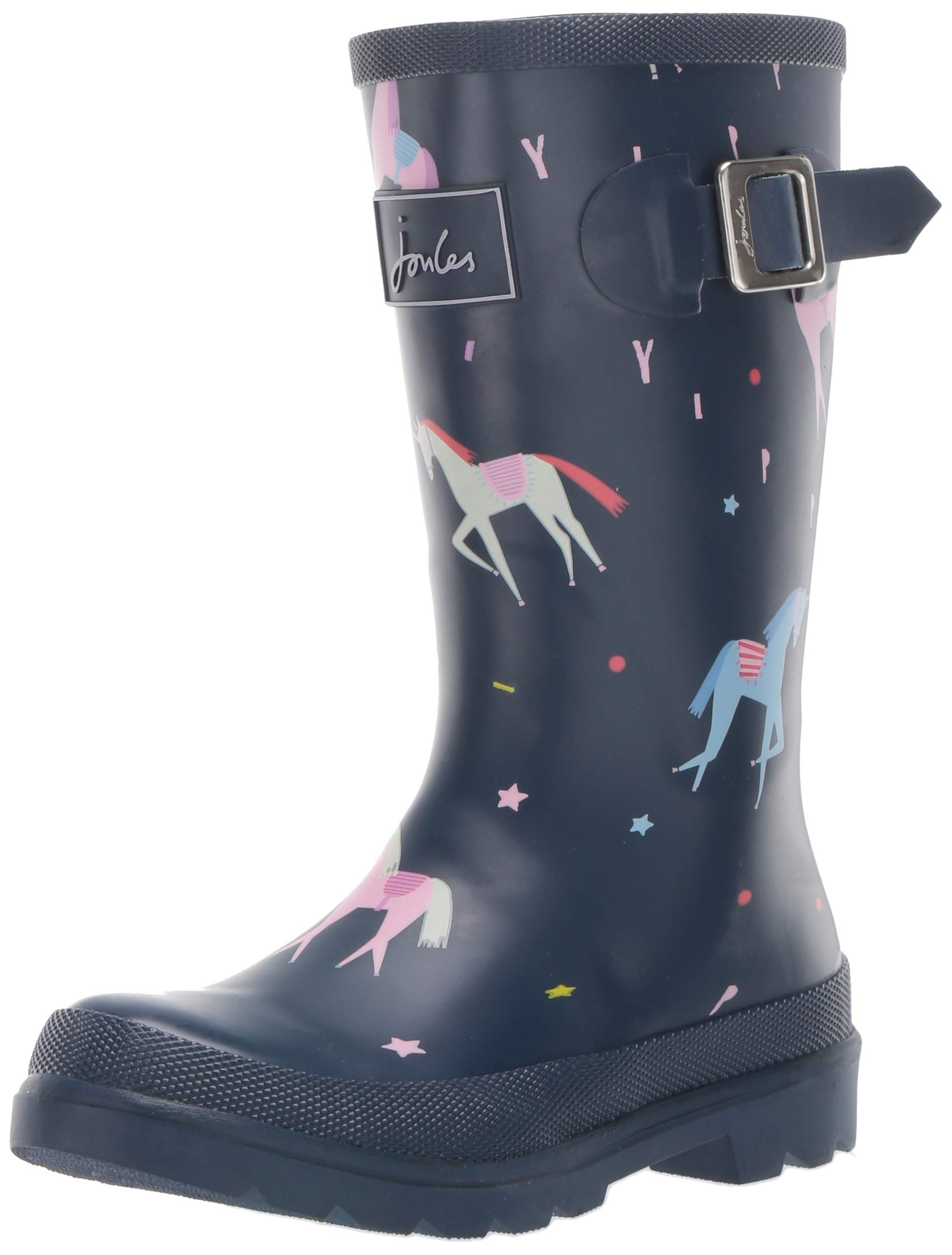 Joules Girls' JNR Welly Print Rain Boot, Blue Unicorn, 3 M US Little Kid