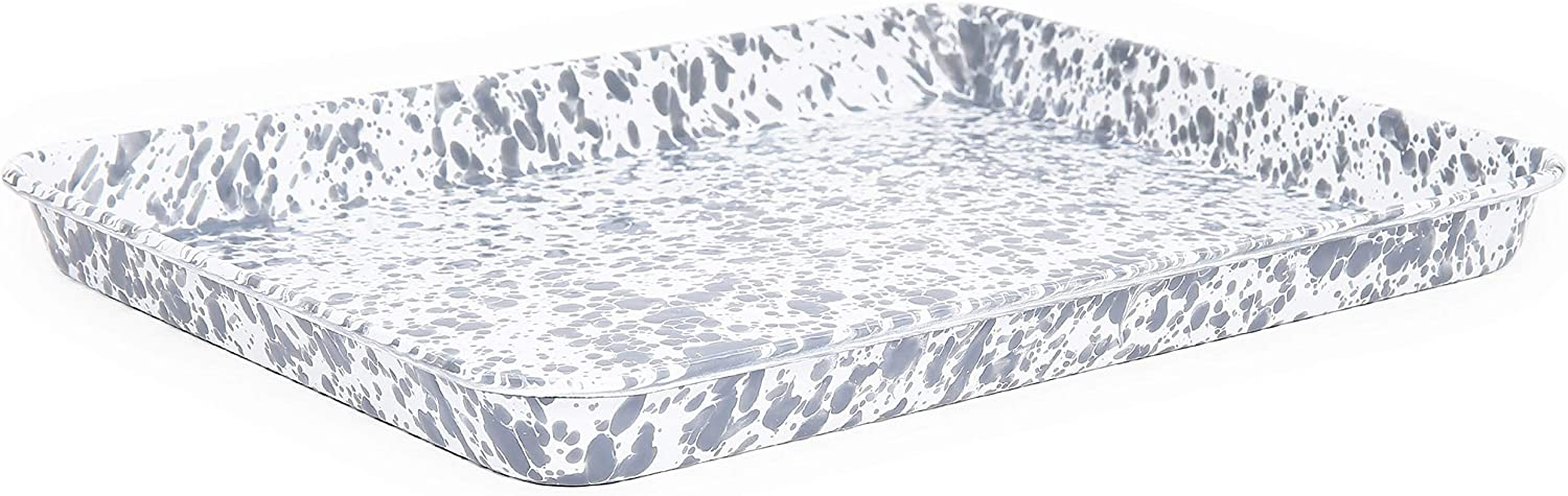 Crow Canyon Home Enamelware Jelly Roll Pan, 16 x 12.25 inches, Grey/White Splatter