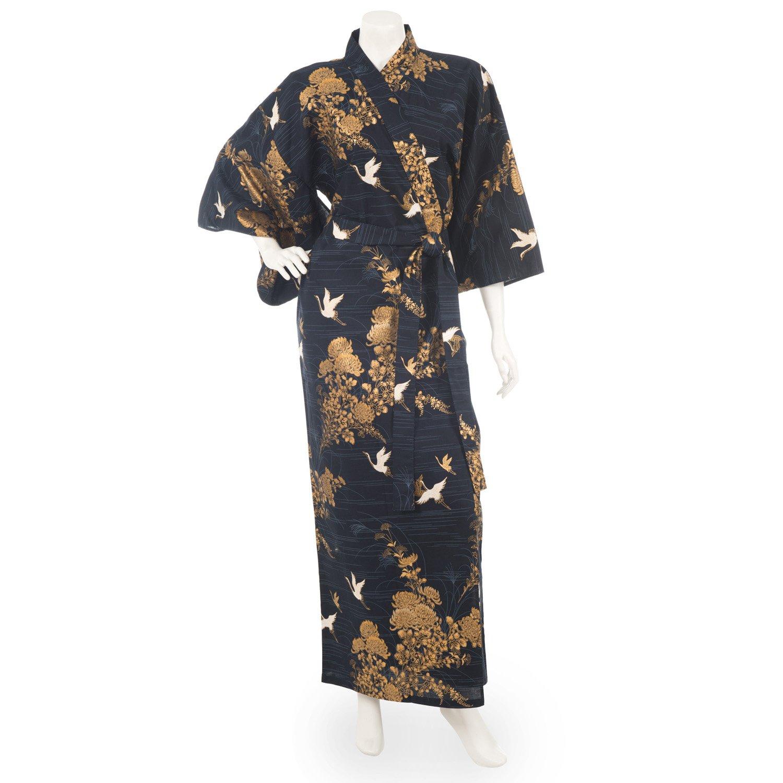 Japanische marineblaue Kranich Kimono lange XL Robe