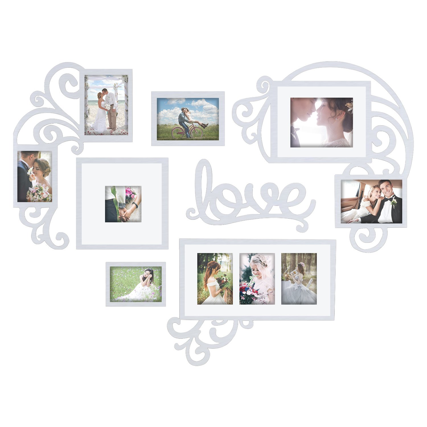 Hello Laura Heart Shape Love Photo Frame Picture Frame Set - Made to Display Three 4x6 Photos - Ready to Hang or Stand with Wall Mounting Hardware for Valentine Day Birthday Memories by Hello Laura