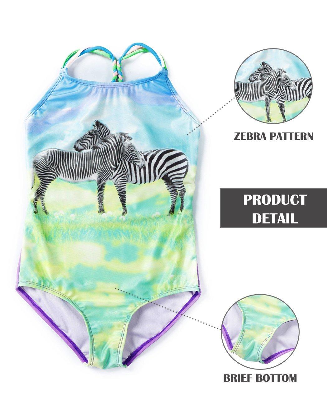 iDrawl Cute Zebra One Piece Beach Sport Swimsuit for Girls by iDrawl (Image #4)