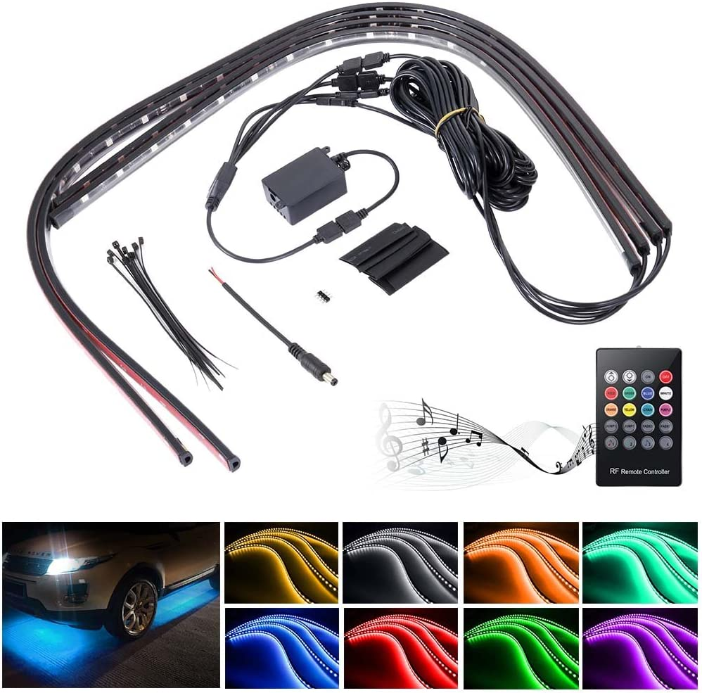 zreal 4/en 1/LED RGB l/ámpara de interior de coches l/ámpara diadema luminoso ne/ón impermeable l/ámpara banda Strip con activa por la voz y inal/ámbrico cargador de coche mando a distancia