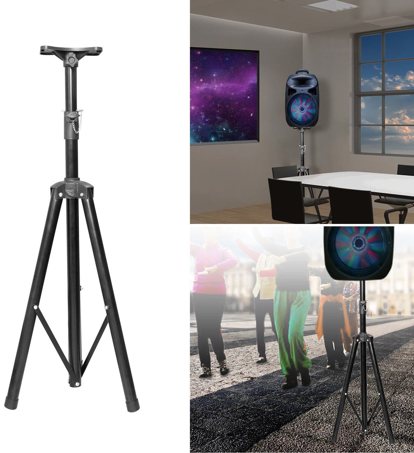 GPCT [Universal] Speaker [Corrosion Resistant] Adjustable Tripod Stand. [Heavy Duty] Holds Up To 60KG/132LBS. Easy Storage [Non Slip] 4 Different Heights DJ PA Speaker Stand. [BLACK] by GPCT (Image #1)