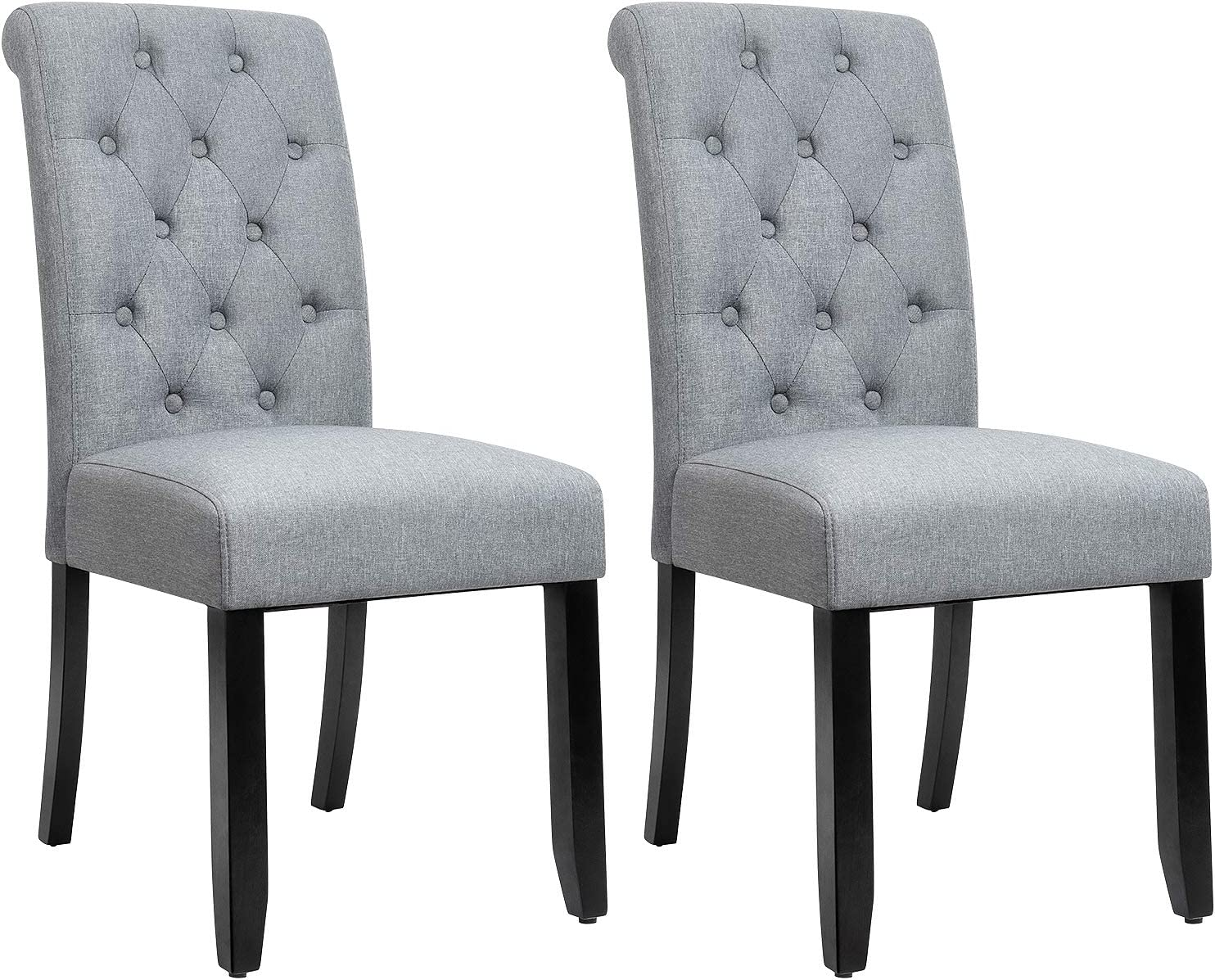 JUMMICO Dining Chair Fabric Tufted Upholstered Design Armless Chair with  Solid Wood Legs Tall Back Set of 3 (Grey)