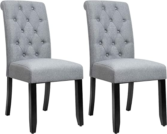 Amazon Com Jummico Dining Chair Fabric Tufted Upholstered Design Armless Chair With Solid Wood Legs Tall Back Set Of 2 Grey Chairs