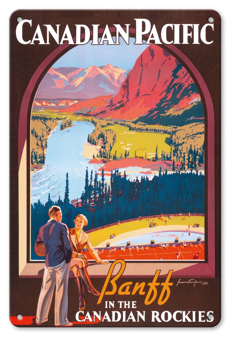 8in x 12in Vintage Tin Sign - Banff in The Canadian Rockies - Lake Louise, Banff National Park - Canadian Pacific Railway Co. by James Crockart Pacifica Island Art Inc.