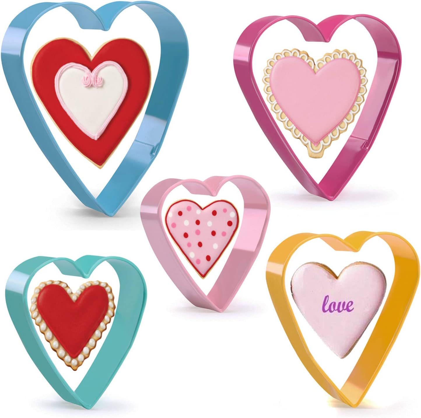 KAISHANE Valentine's Day Heart Cookie Cutters Set Stainless Steel Colorful (Pink Blue Yellow Green Rose red) Set of 5