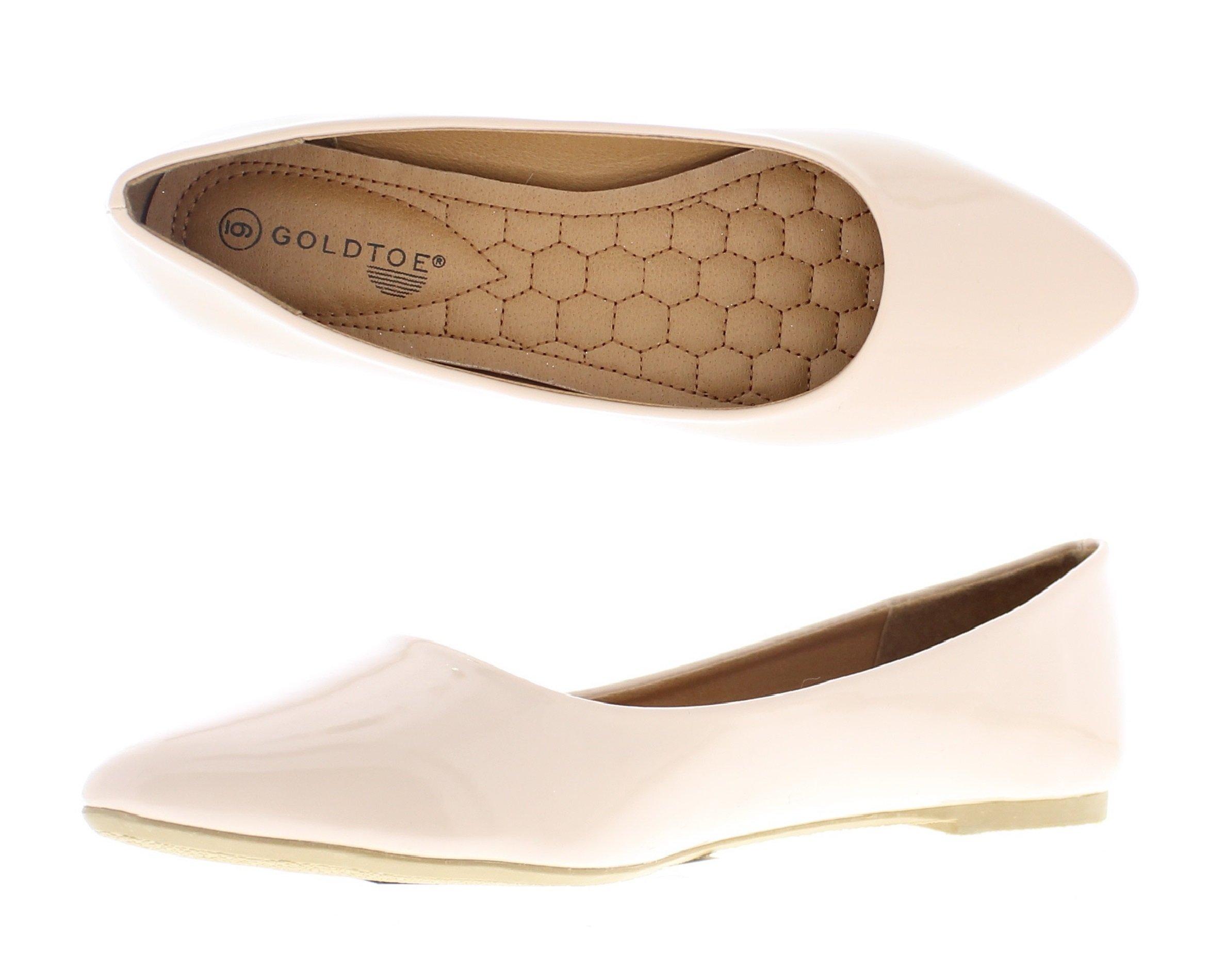 Gold Toe Women's Casima Faux Patent Leather Slip On Pointed Toe Ballet Flat Dress Pump Memory Foam Shoes Nude 6 US