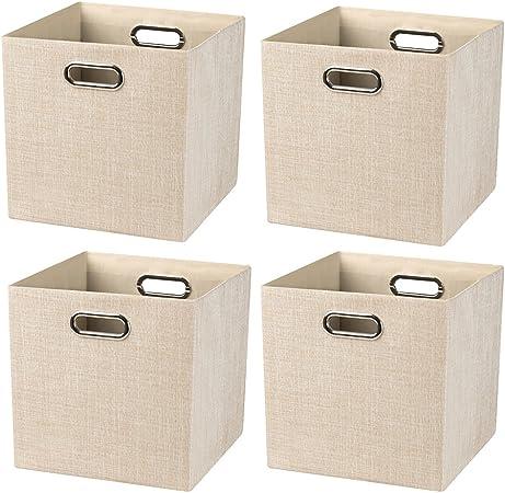 Posprica Cajas de Almacenaje,Cestas de Almacenamiento Plegable,Contenedores de Almacenamient para Organización En El Cajón del Armario La Cómoda,28 x 28 x 28cm: Amazon.es: Hogar
