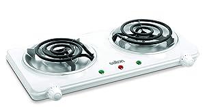 Salton THP-433 Electric Double-Coil Cooking Range, White