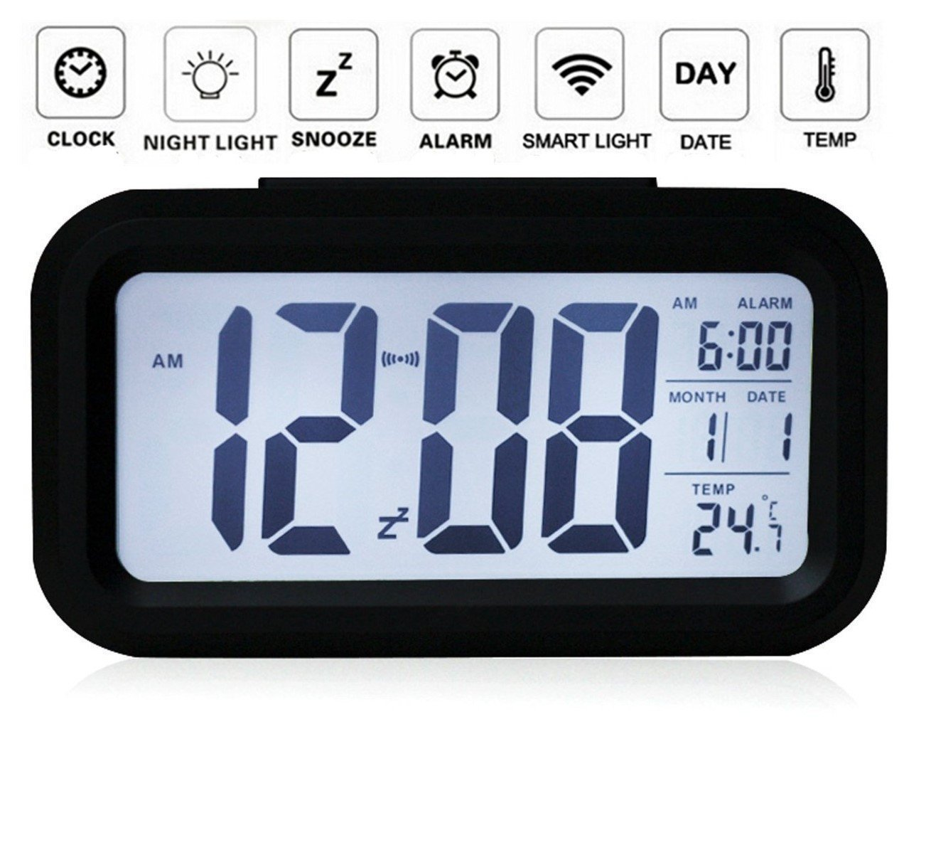 Digital Alarm Clock, Arespark Smart Simple And Silent Bedroom Alarm Clock  With Date And Temperature Display  Snooze And Large Display  Smart Night ...