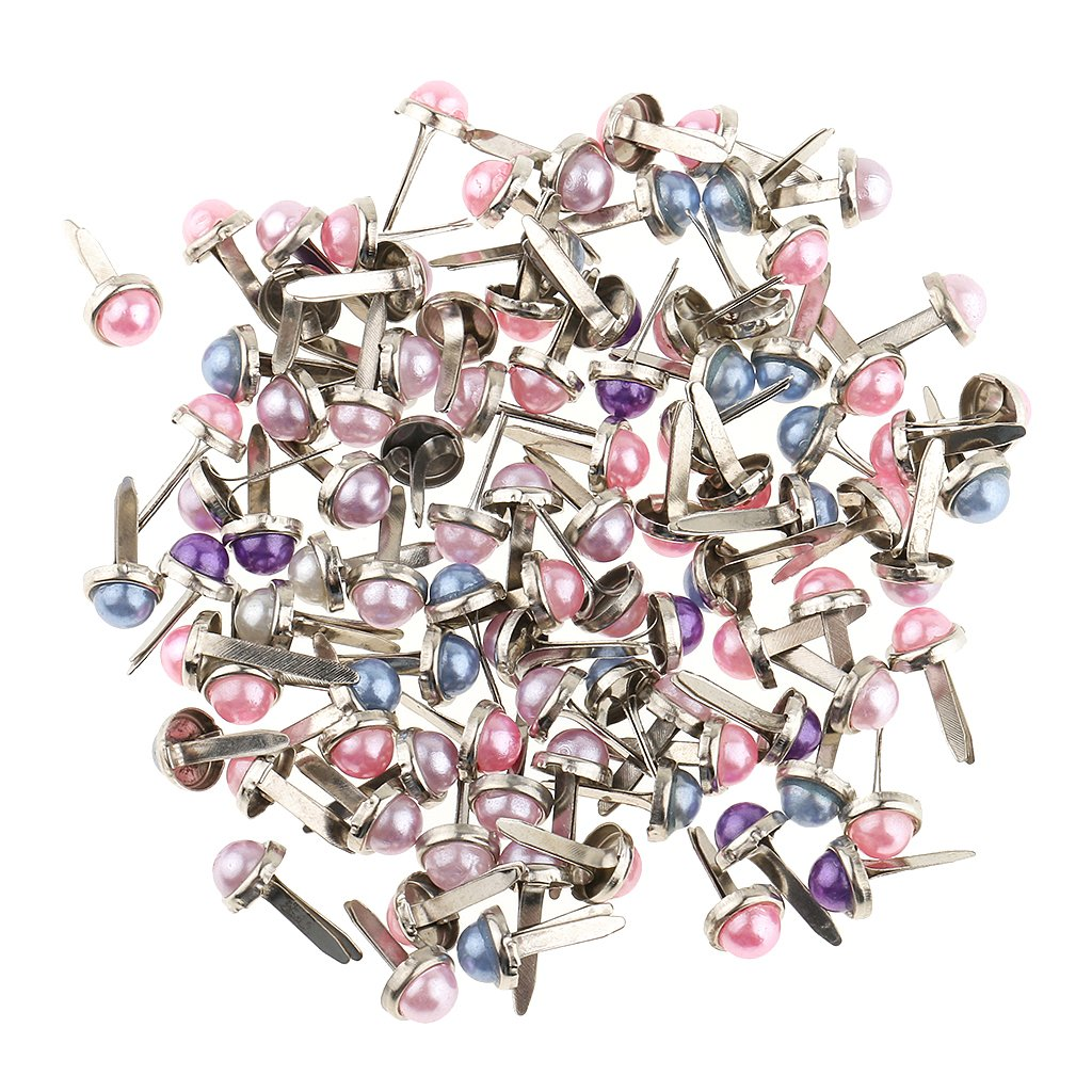 Fityle 200 Piece Metal Pearl Head Brads Paper Fasteners for Scrapbooking Crafts 6mm