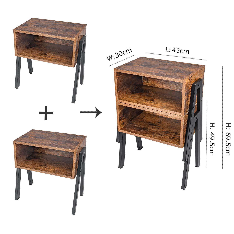 Leader Accessories Set 2 Comodini Camera da Letto Vintage Industriale Tavolini Lato Divano da Salotto Portaoggetti Rustico 43 49 cm cm 30