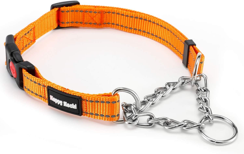 Louvra Collar de Perro Arnés de Perro Durable SBR Acolchado del Material Nailon, 3M Reflecante, Tamaño L, Color Naranja