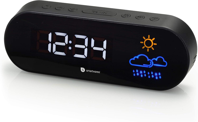 Smartwares CL-1489 – Reloj despertador, dos alarmas, radio FM, previsión meteorológica