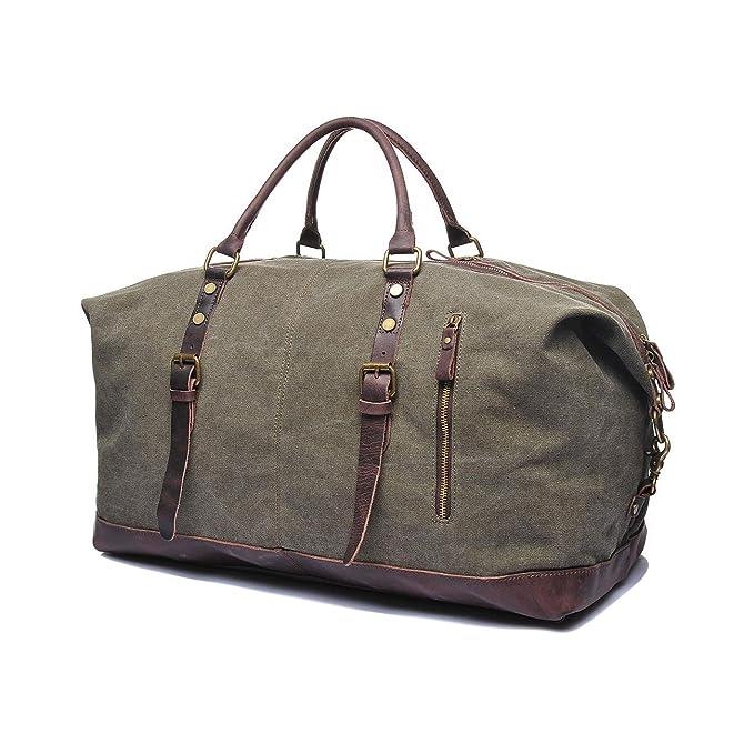 VRIKOO Vintage Military Canvas Leather Tote Luggage Travel Duffel Bag Large Capacity Shoulder Crossbody Weekend Bags (Grey) AIv0nUtTg