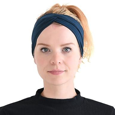 8e442041ff36d2 Casualbox Herren Japanisch elastisch Stirnband Headband Haar Band Zubehör  Sport Marine