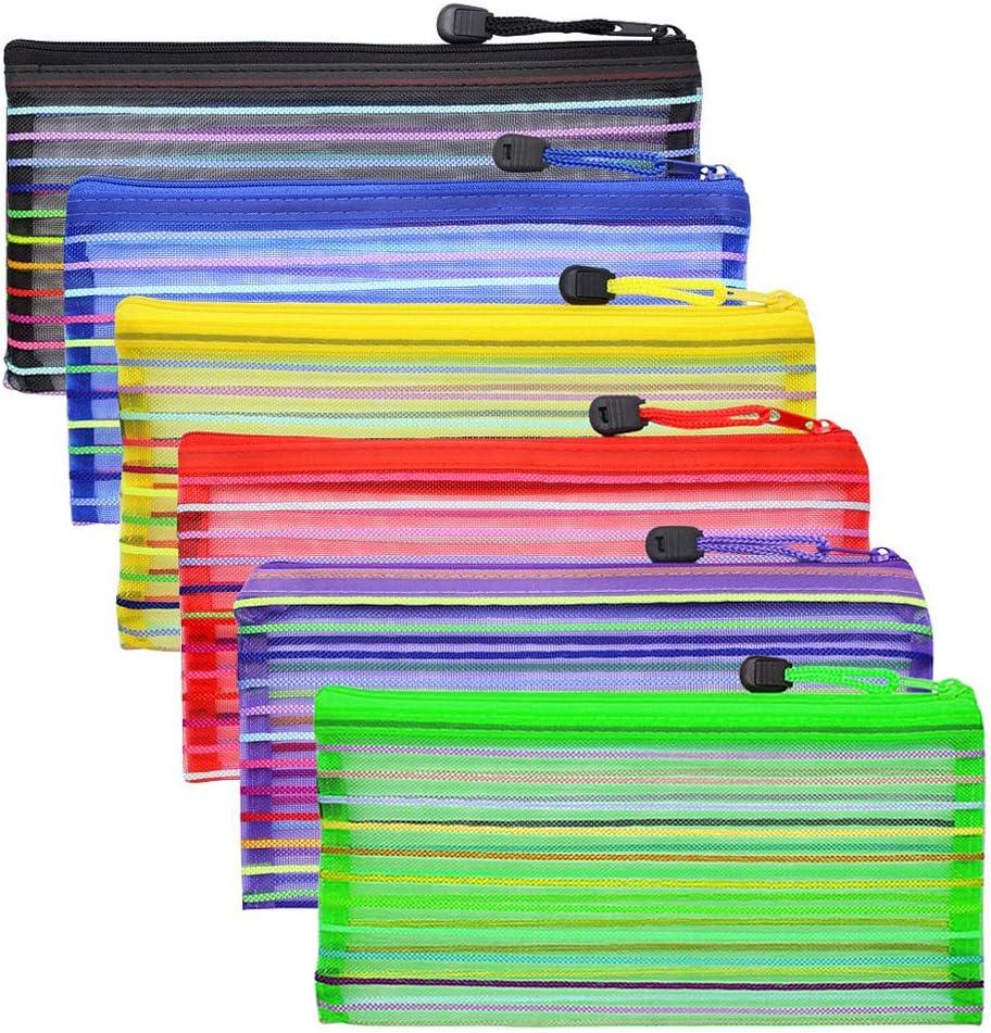 Zipper Mesh Pouch, 6 Pcs 6 Colors 9″x 4.7″ Pencil Pen Document Bag Zipper File bags Storage Pouch for Travel Cosmetics Makeup, Offices Supplies, Travel Accessories