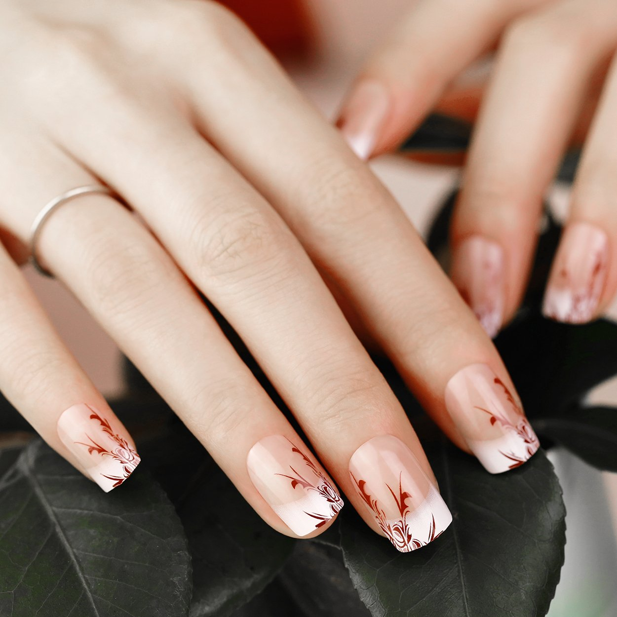 ArtPlus False Nails Kit 24pcs Stiletto Red Elegant Touch French Manicure Fake Nails with Glue Full Cover Long Length