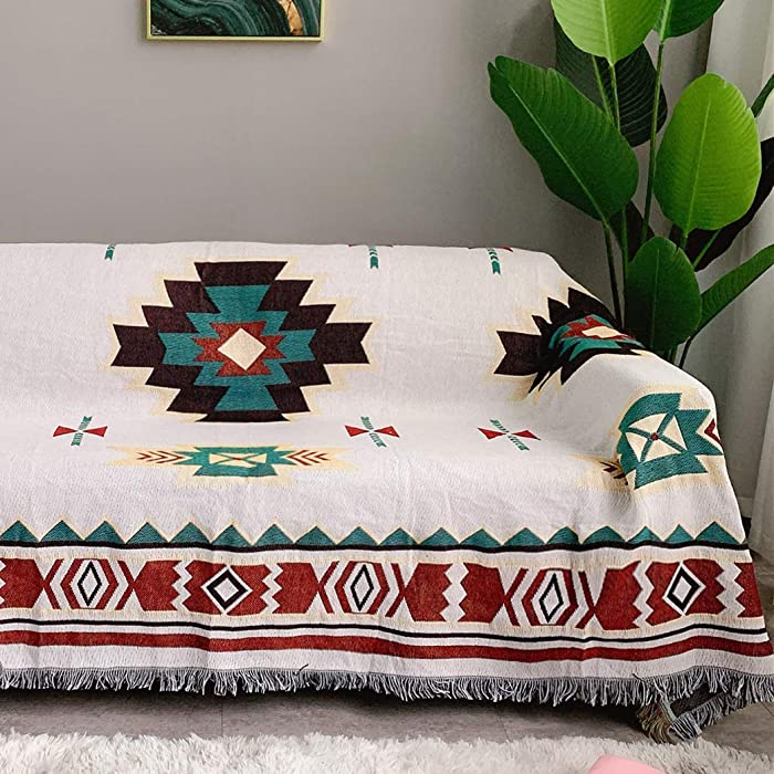 "AIVIA Southwestern Aztec Decor Throw Blanket for Home, Cotton Southwest Navajo Native American Tribal Decorative Sofa Cover Wall Hanging Tapestry - Off White Turquoise Burgundy Gold, 70"" x 90"""