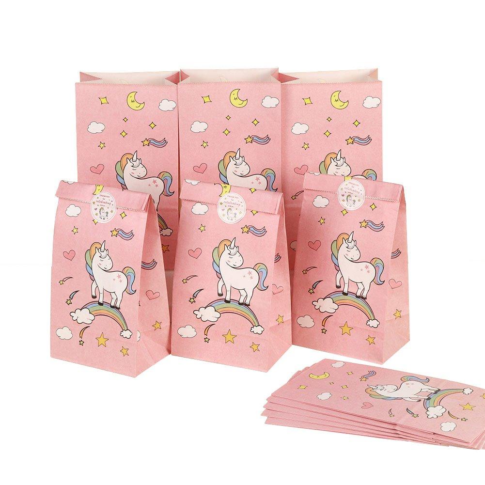 AerWo 24pcs Borse da unicorno con adesiviThankyou Adesivi di carta unicorno per le decorazioni di compleanno delle ragazze