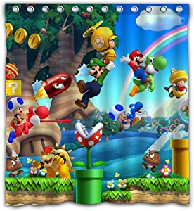 Aoskin Custom Super Mario Bros. Game Shower Curtain Waterproof with Color Bathroom Decoration Size of 66x72 Inches