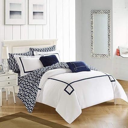 Amazon Com D H 9 Piece Navy Blue Embroidered Greek Key Comforter
