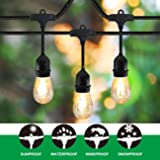 Classyke 48ft Outdoor String Lights for Patio Garden Yard Deck Cafe Dimmable Weatherproof Commerial Grade [UL Listed]