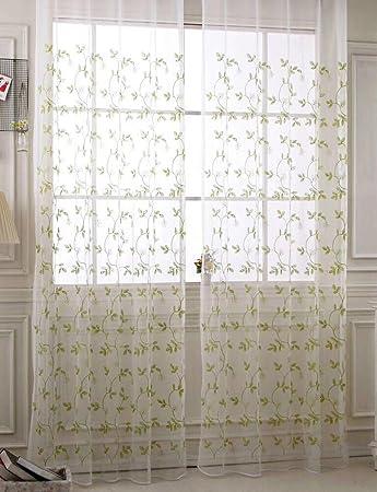 Seite Bside Landhaus Stil Vorhänge, Gardinen Rod Pocket Top Leave  Bestickter Voile Fenster Behandlungen Für