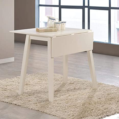 New Haven Off White Drop Leaf Space Saving Dining Table Amazon Co