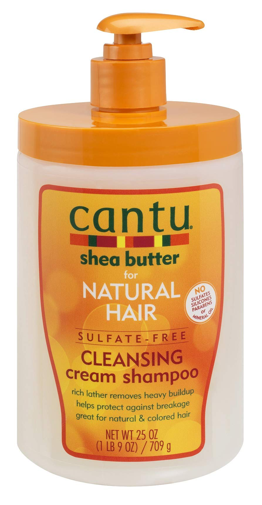 Cantu Natural Hair Shampoo Cleansing Cream 25 Ounce Pump (2 Pack) by Cantu