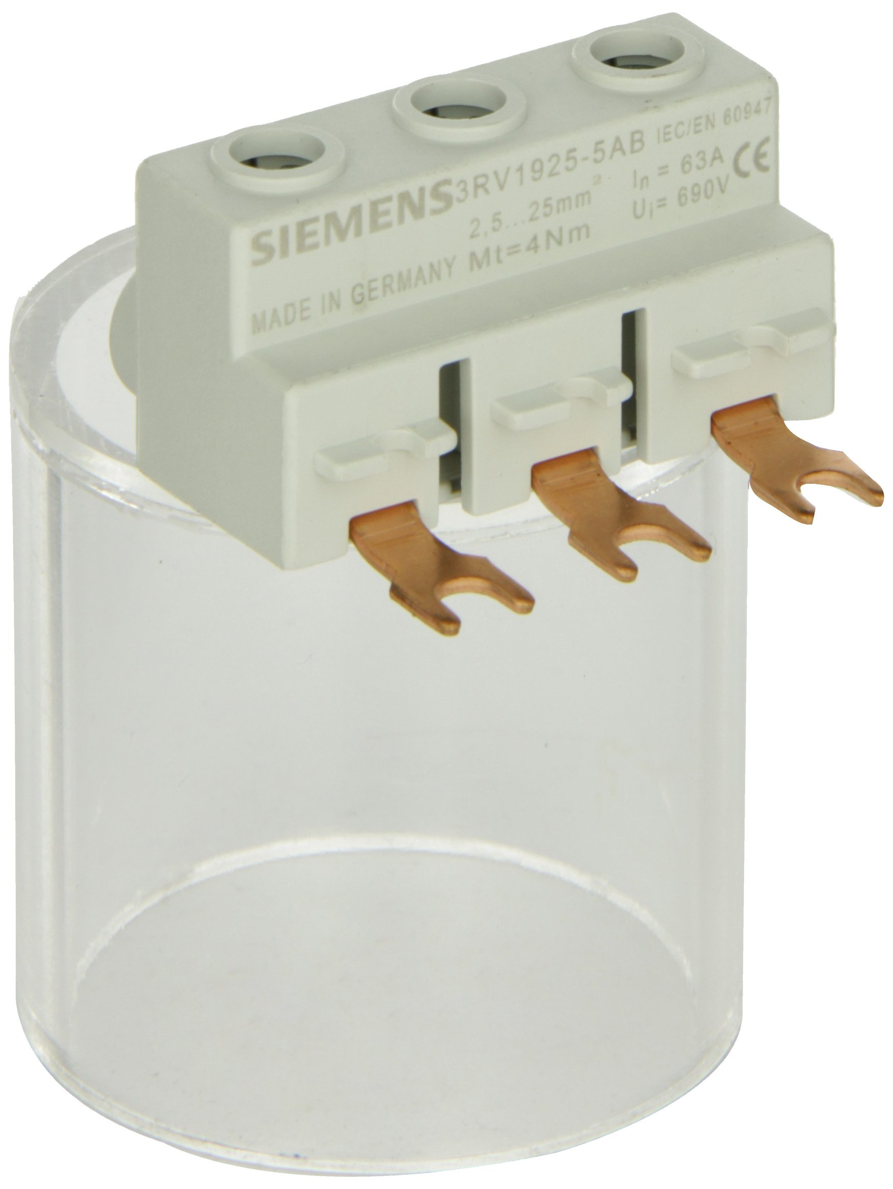Siemens 3RV19 25-5AB Three Phase Feeder Terminal, Connection From Top, 2.5-25 Solid or Stranded, 4-16 Finely Stranded With End Sleeve, 12-4 AWG Cables, 4Nm Tightening Torque by Siemens (Image #1)