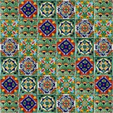 Mexican Tiles Mix Box of 100 Talavera Tiles Hand Painted 5 Colonial Patterns F100