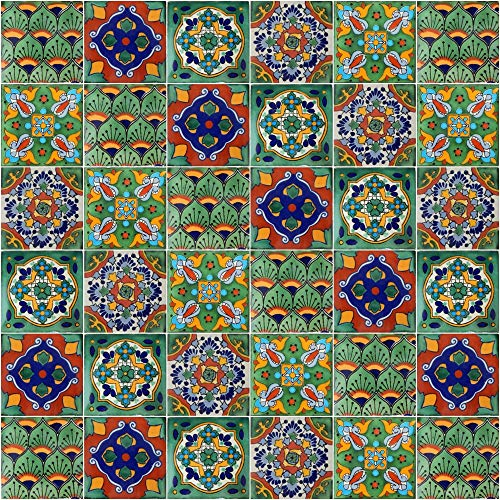 - Mexican Tiles Mix Box of 100 Talavera Tiles Hand Painted 5 Colonial Patterns F100