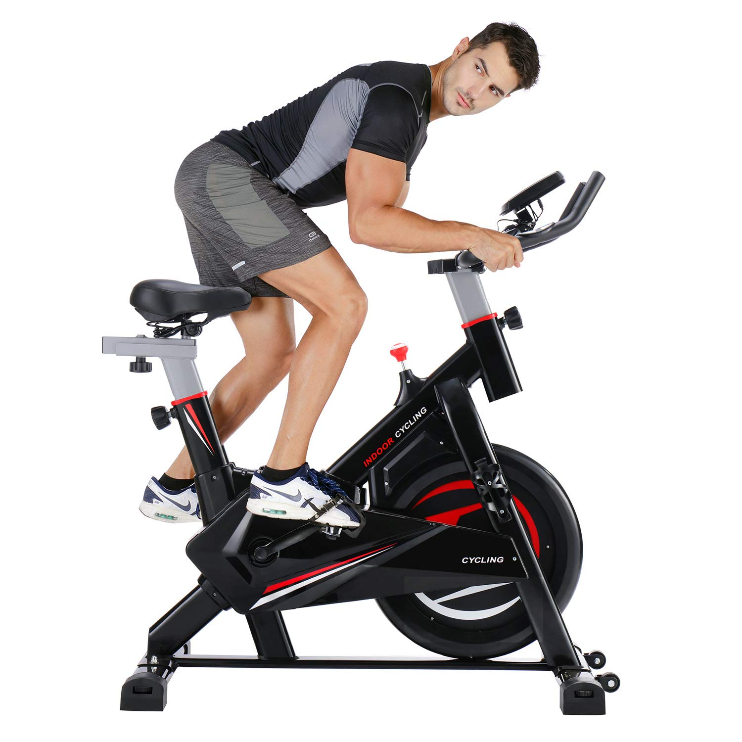 Aitere Home Gym Fitness Indoor Cycling Trainer Quiet Stationary Spinning Bike with Ipad Holder