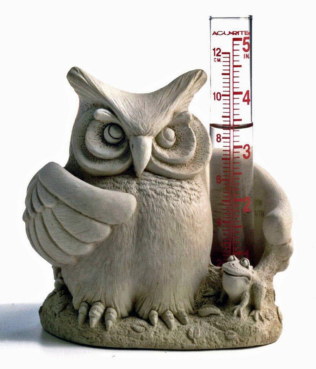 GARDEN DECOR - ''WISE OWL'' RAIN GAUGE - NATURAL STONE FINISH