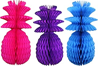 product image for Large Solid Colored 13 Inch Honeycomb Pineapple Party Decoration Kit (Cerise, Turquoise, Purple)
