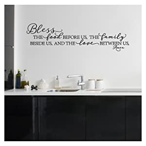 """Bless The Food Before Us, The Family Beside Us, and The Love Between Us, Amen Vinyl Lettering Wall Decal (Style B 10"""" H x 37"""" L, Black)"""