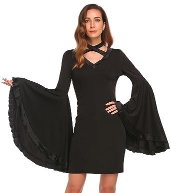 2b07d194dacf ELESOL Women's Sexy Keyhole Mock Neck Bell Sleeve Bodycon Cocktail Pencil  Dress,Black,L