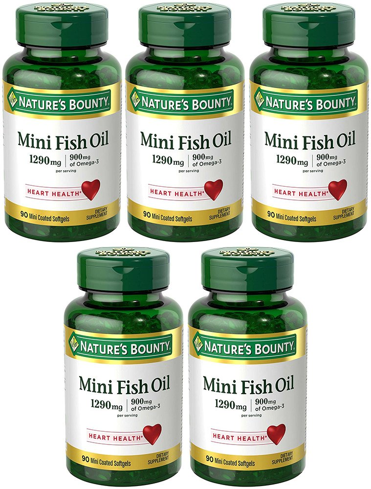 Fish Oil 1290 mg, Mini Odorless Softgels, 5 Bottles (90 Count)