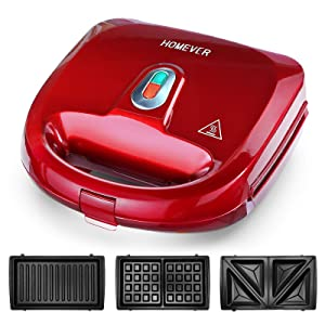 Sandwich Maker, HOMEVER 3-IN-1 Waffle Maker, Sandwich Grill with 3 Sets of Detachable Non-Stick Plate and LED Indicator Lights,750W Rapid Heating in 2 Minutes, Red