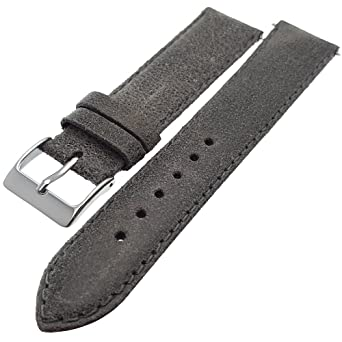 095842ae7 Grey Vintage Style Genuine Calf Leather Watch Strap 20mm: Amazon.co.uk:  Watches