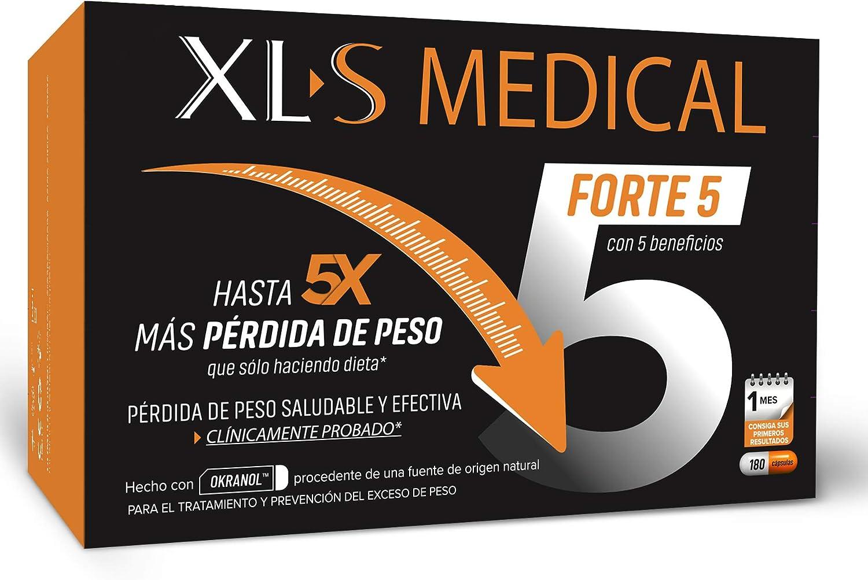 XLS Medical Forte 5 | Captagrasas | Pierde Hasta 5 Veces Más Peso Que Solo Haciendo Dieta | Perder Peso | Origen Natural 100% Vegano, 1 Mes, Blanco, ...