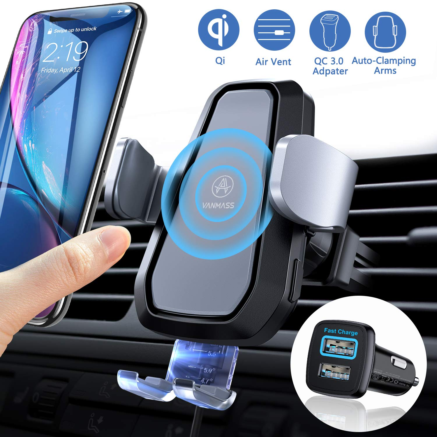 VANMASS Wireless Car Charger Mount, Automatic Clamping 10W 7.5W Qi Fast Charging Mount, Air Vent Phone Holder with QC 3.0 Fast Charger, Compatible with iPhone 11 Pro Max Xs X 8, Samsung S10 S9 Note 10 by VANMASS